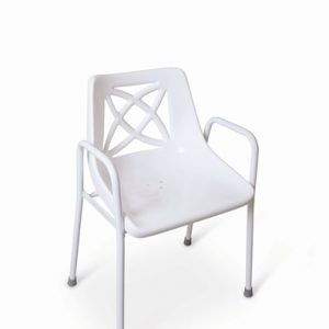 Fixed height stackable shower chair.