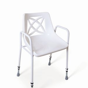 Adjustable height stackable shower chair.
