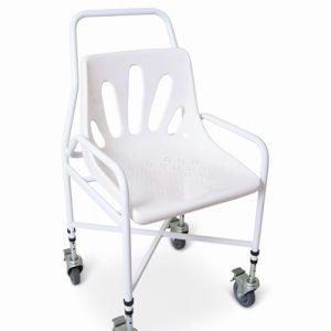 Mobile swivel braked castored shower chair - Adjustable Height.