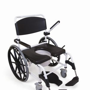 Self Propelled showering toileting commode chair providing a solution for those between Standard and Bariatric. Available to purchase from Cefndy Healthcare UK.