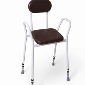 Percher - Steel arms & padded back/brown Improved framework has been tested and can accommodate patient weight of 159kg (25 stone)