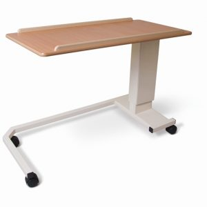Low Height rise and fall table with wheelchair friendly base offers the ultimate luxury for both user and carer. Available to buy from Cefndy Healthcare UK.