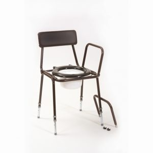 Adjustable Height and Detachable Arms stackable commode. Buy online from Cefndy Healthcare UK