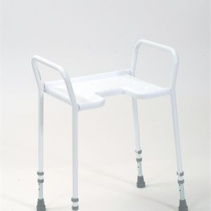 white gap fronted shower stool with arms