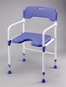 Folding shower chair with blue upholstery and white frame