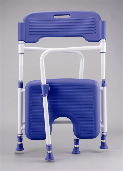 Folding shower chair with blue upholstery and white frame in folded position