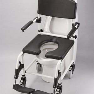 shower commode chair with black seat and back
