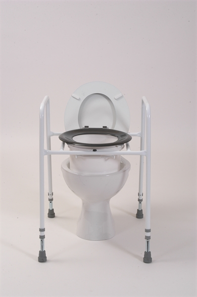 black raised seat over a toilet