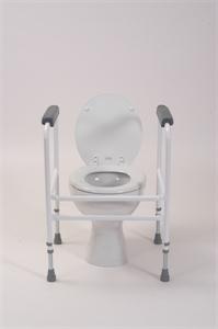 white toilet surround with grey arms pads around white toilet