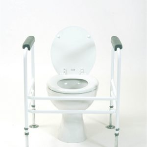 white toilet frame around a toilet