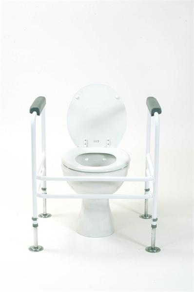 white toilet frame around a toilet