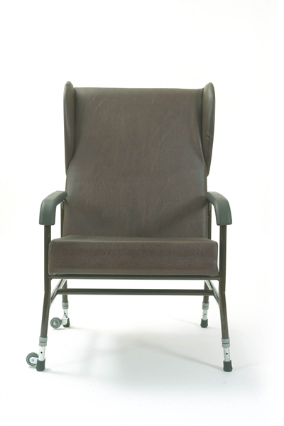 brown high backed chair with wings