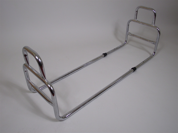 chrome bed rail with two looped handles