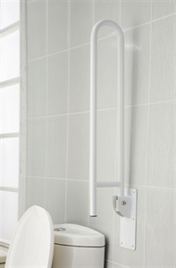 double grab rail in up position next to toilet