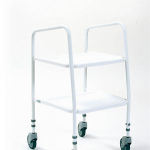 white wheeled trolley with two trays