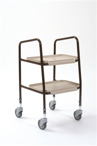 brown wheeled trolley with two trays
