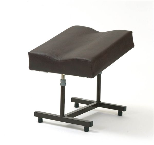 Brown H frame footstool with contoured top