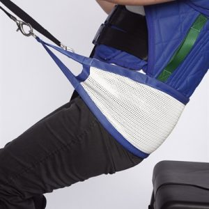 posterior sling in white with blue straps