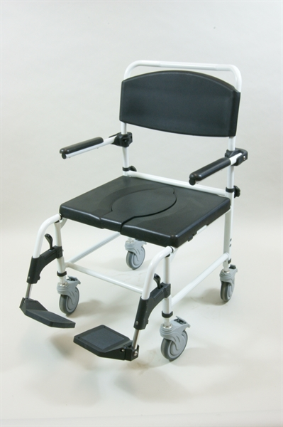 mobile shower commode chair with white frame and black upholstery