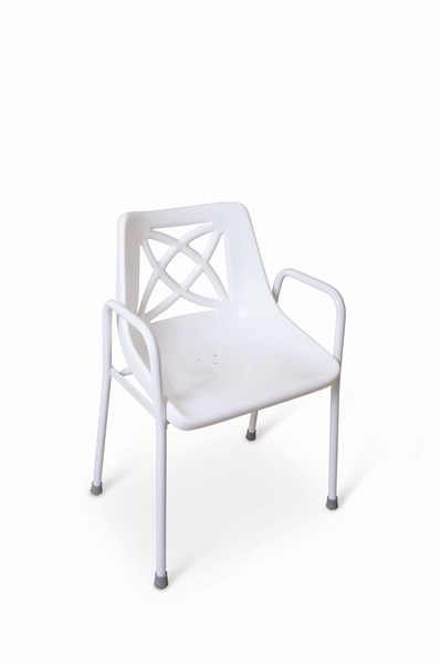 Fixed height white stackable shower chair.