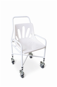 White mobile shower chair
