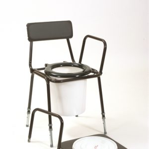 Chemiloo with adjustable height and detachable arms. Has the same construction as the popular stacking commode.