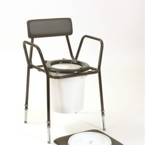 Brown commode with white bucket