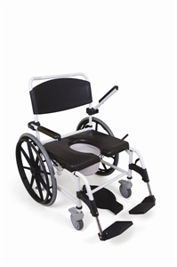 wheeled shower commode chair with black upholstery