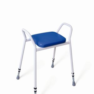 white framed perching stool with arms and blue upholstery