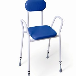 white framed perching stool with arms and back with blue upholstery