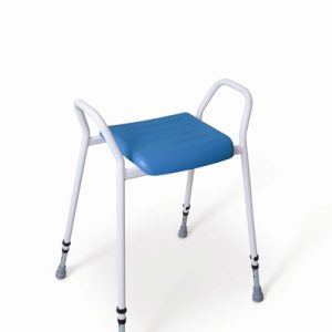 Perching stool with white frame and blue upholstery