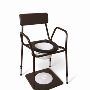 Stackable commode with Adjustable Height and Fixed Arms. Available to buy from Cefndy Healthcare UK