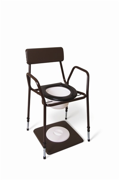 T60 Stackable commode – Adjustable height & Fixed arms – Brown