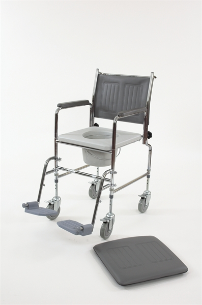 Grey and chrome mobile commode chair