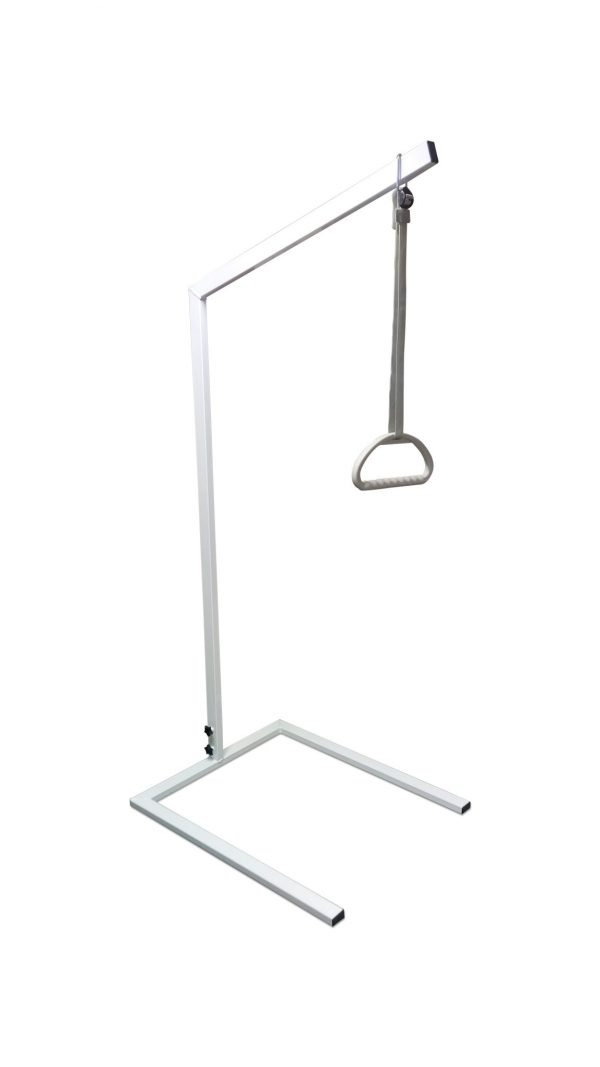white lifting pole with sling and grey handle