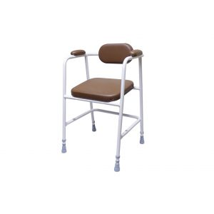perching stool with brown upholstery