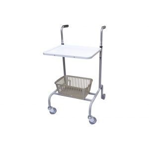 Wheeled trolley with basket and tray