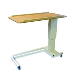 Rise & fall table with blue wheels