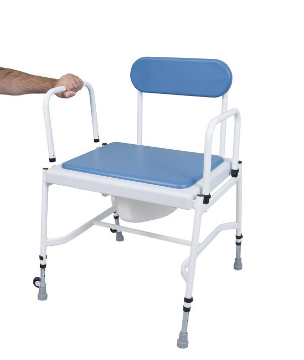 white framed commode stool with blue back and seat