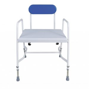 white framed shower stool with blue back
