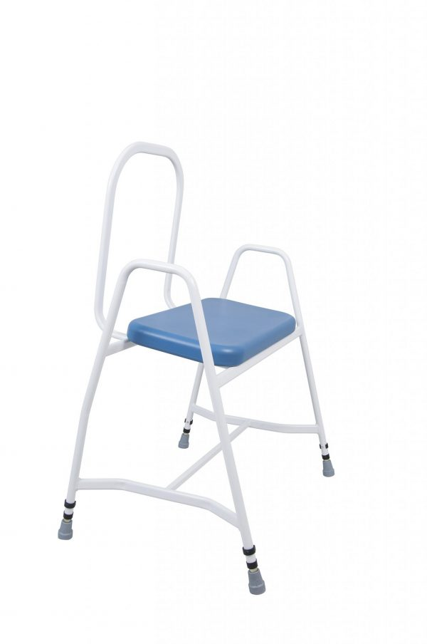 white framed perching stool with blue seat side view