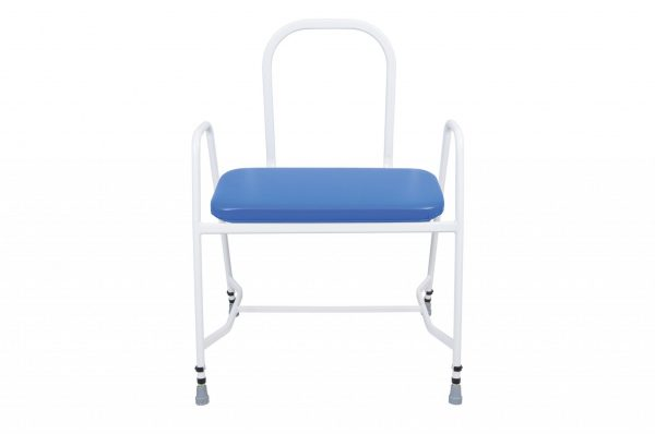 white framed perching stool with blue seat
