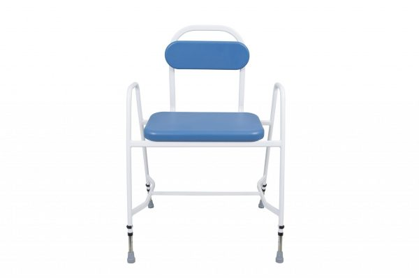 white framed perching stool with blue seat and back