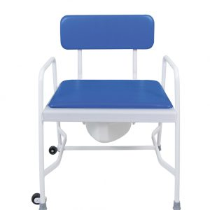 white framed commode with blue back and seat