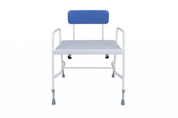 white framed shower stool with blue back