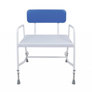 white framed shower chair with blue back