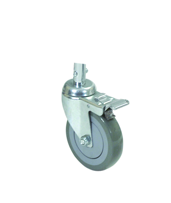 grey braked castor