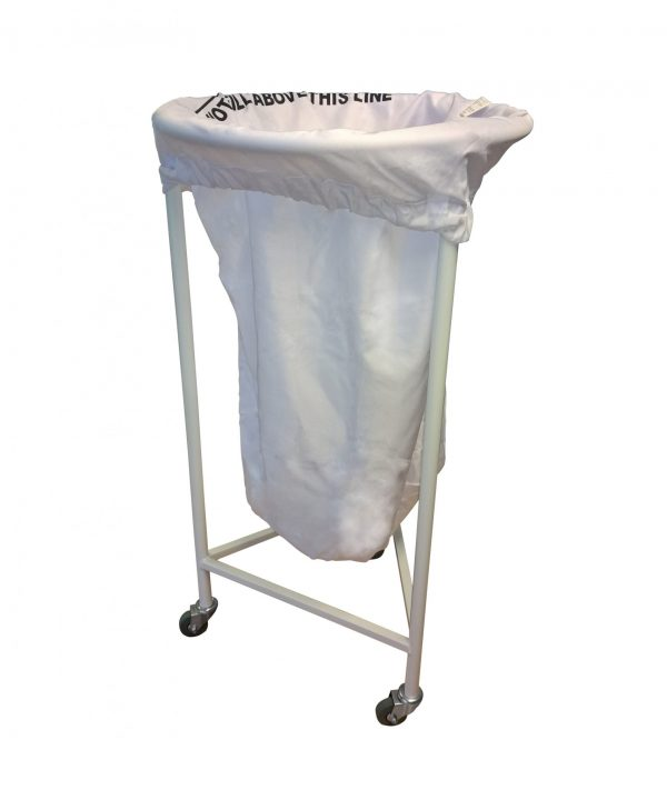 white laundry skip with bag