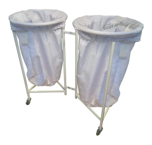 white twin laundry skip with bags