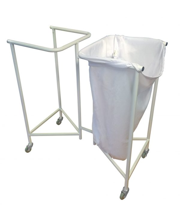 Two white laundry skips, one with bag